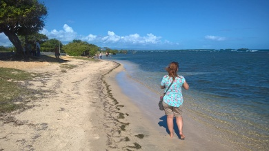Walking on a southern beach of Puerto Rico near the city of Ponce/ Caminando en una playa de Sur, cerca de Ponce, Puerto Rico.