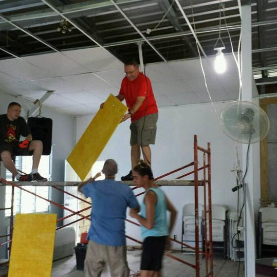 Working on ceiling